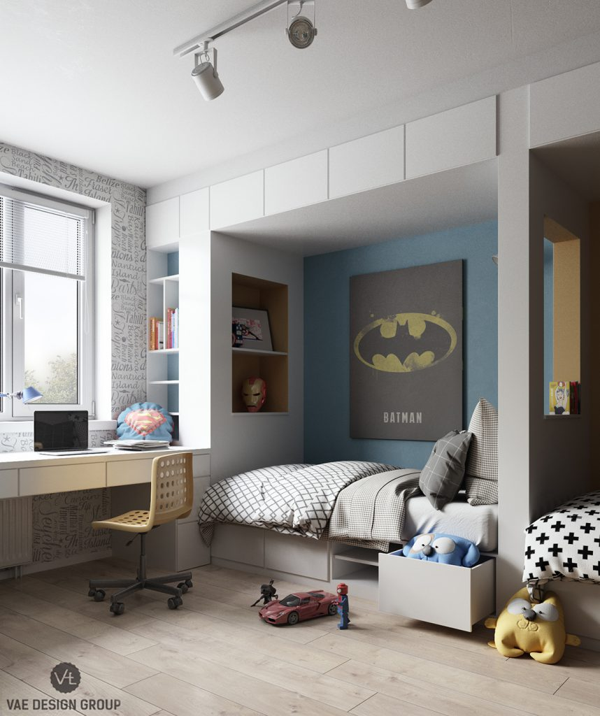 Kinderzimmer-Tapete-Superhelden-Marvel-Spiderman-Batman-Room-For-Kids