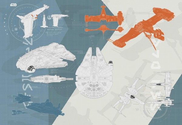 "Fototapete ""Star Wars - Technical Plan"" Star Wars Komar 8-4001"