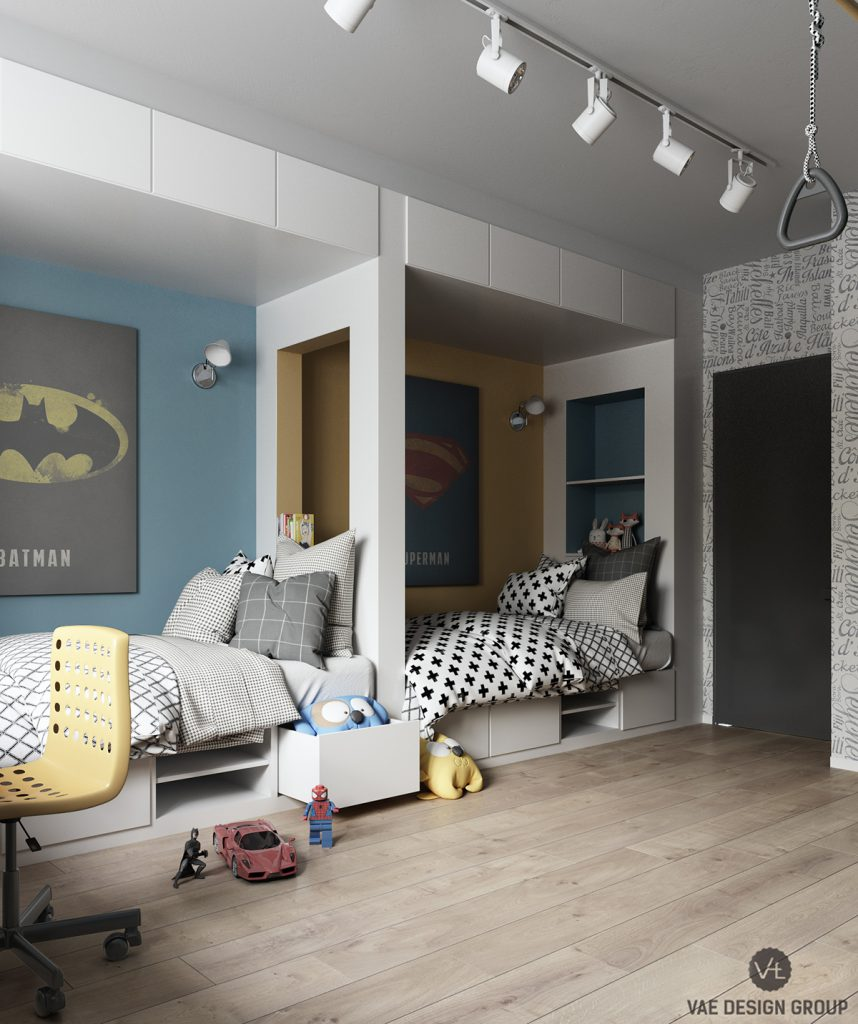 Kinderzimmer-Tapete-Superhelden-Comic-Stil-Room-For-Kids