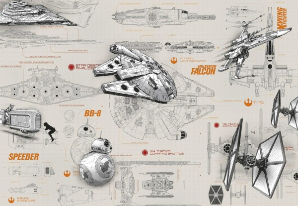 "Fototapete ""STAR WARS Blueprints"" Star Wars Komar 8-493"